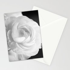 White Ranunculus Black and White Photography Nature Flower  Stationery Cards
