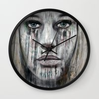 woman Wall Clocks featuring woman by teddynash