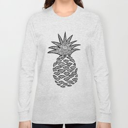 Pineapple Black and White Pattern Long Sleeve T-shirt