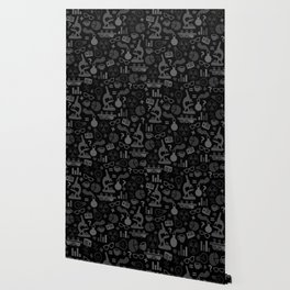 Grey and Black Science Pattern Wallpaper