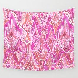 SUNSET DROPS OF WONDER Pink Ikat Watercolor Tribal Wall Tapestry