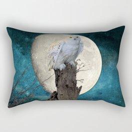 White Snowy Owl Bird Moon Blue A141 Rectangular Pillow