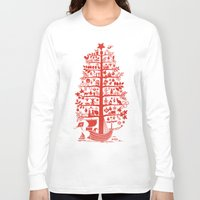blankets Long Sleeve T-shirts featuring CHRISTMAS TREE red ITINERANT by Chicca Besso