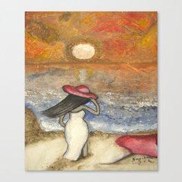 At the Beach Acrylic Abstract Art by Saribelle Canvas Print