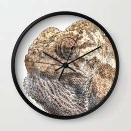 Chameleon With Sinister Facial Expression Isolated Wall Clock