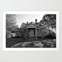 House on the Hill in Black and White Art Print