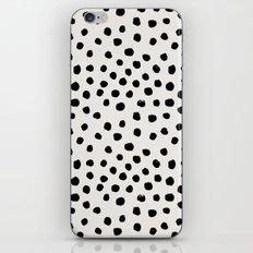 Preppy brushstroke free polka dots black and white spots dots dalmation animal spots design minimal iPhone & iPod Skin