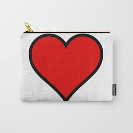 Bold Red Heart Shape Valentine Digital Illustration, Minimal Art Carry-All Pouch