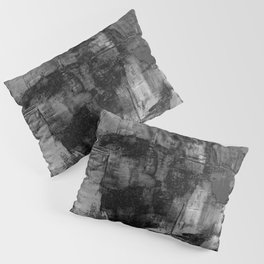 Crackled Gray - Black, white and gray, grey textured abstract Pillow Sham