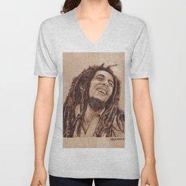 Bob 420 Marley - wood burning / pyrography drawing Unisex V-Neck