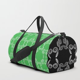 Hand drawn Seed Pods White on Spring Green Duffle Bag