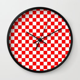 Jumbo Australian Racing Flag Red and White Checked Checkerboard Pattern Wall Clock