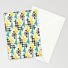 Mid Century Modern Atomic Wing Composition Turquoise & Yellow Stationery Cards