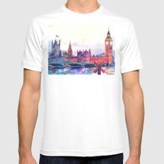 Sunset in London White Mens Fitted Tee MEDIUM