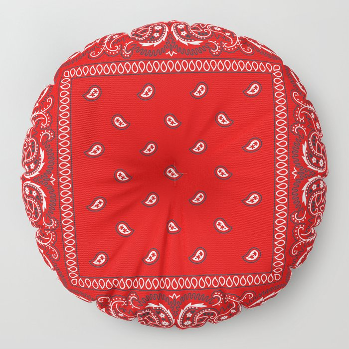 Paisley - Bandana - Red - Southwestern - Boho Floor Pillow