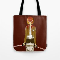 snk Tote Bags featuring Bloody Armin by Paula Urruti