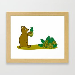 Pineapple Harvesting Bear Framed Art Print