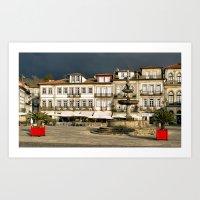 Camoes square in Ponte de Lima, Portugal Art Print