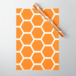 Orange Honeycomb Wrapping Paper