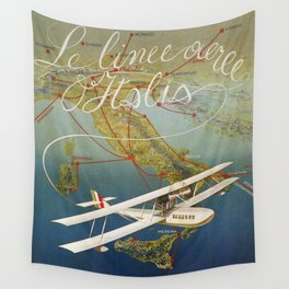 Vintage 1920s Island plane shuttle Italian travel Wall Tapestry