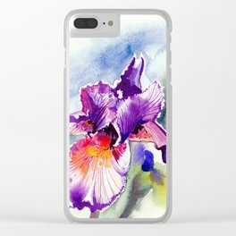 Purple Iris With Buds, Floral Watercolor Clear iPhone Case