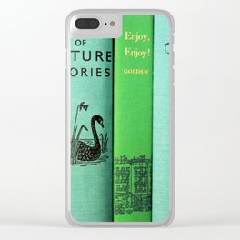 Blue & Green Vintage Book Spines Clear iPhone Case