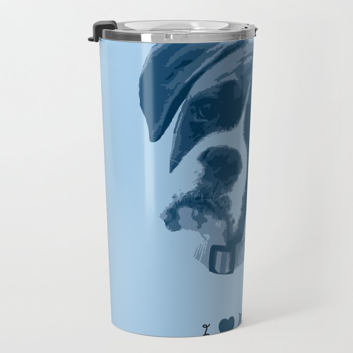 I love my dog - Boxer, blue Travel Mug