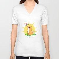 shiba V-neck T-shirts featuring Guapo the Shiba by Corpus Ren