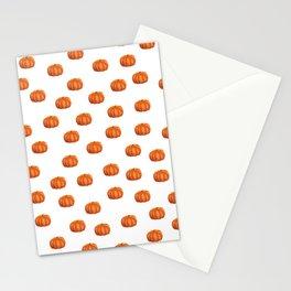 Cute Little Pumpkin Pattern | Autumn/Fall Illustration | Orange & White | Nature & Seasons Stationery Cards