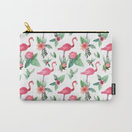 Flamingo Floral Tropical Carry-All Pouch