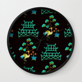 Asian Pagoda Garden Repeat in Verdigris and Onyx Wall Clock