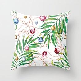 Glamorous Palm white Throw Pillow