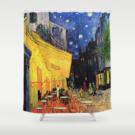 The cafe terrace on the place du forum, Arles, at night, by Vincent van gogh.  Shower Curtain