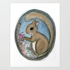 Sherman Squirrel Reads a Tale Art Print