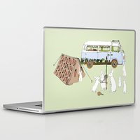 rabbits Laptop & iPad Skins featuring Camping Rabbits by Emma Traynor
