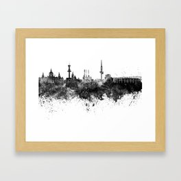 Hannover skyline in black watercolor Framed Art Print