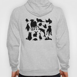 ANIMALS PATTERN Black Silhouette Pet Animal Cool Style Hoody