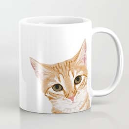 Peeking Orange Tabby Cat - cute funny cat meme for cat ladies cat people Coffee Mug