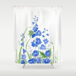 Blue Larkspur Watercolor Garden Flower Delicate Painting Shower Curtain