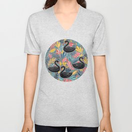 Bonny Black Swans with Lots of Leaves on Grey Unisex V-Neck
