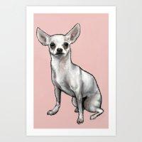 chihuahua Art Prints featuring Chihuahua by Seni