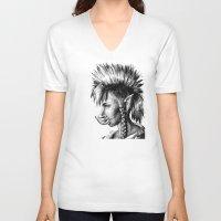 warcraft V-neck T-shirts featuring Punk Troll by Georgia Goddard