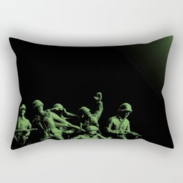 Plastic Army Man Battalion Black and Green Rectangular Pillow