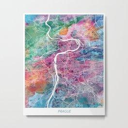 Prague city map Metal Print