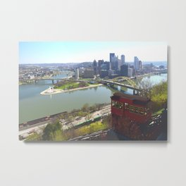 Downtown Pittsburgh point and incline 32 Metal Print