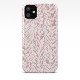 Living Coral Herringbone iPhone Case
