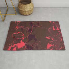 Grey Marble and Coral Rug