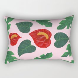 Anthurium Flowers and Banana Leaves Rectangular Pillow