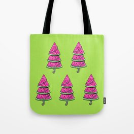 Aussie Xmas Design on Lime Green #1 Watermelon Trees x 4 Tote Bag