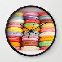 macaroon Wall Clocks featuring Numerous Macaroon  by Asano Kitamura